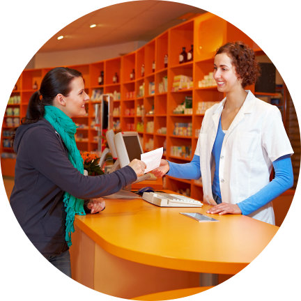 customer asking assistance to the pharmacist